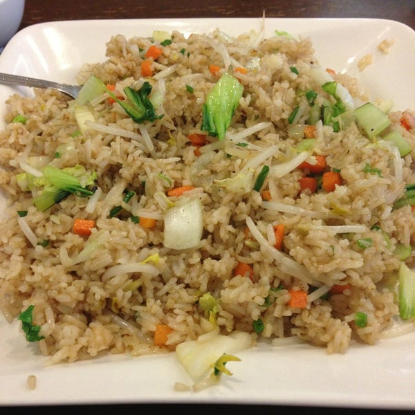 Vegetarian fried rice without egg us a vegan delight! Excellent!