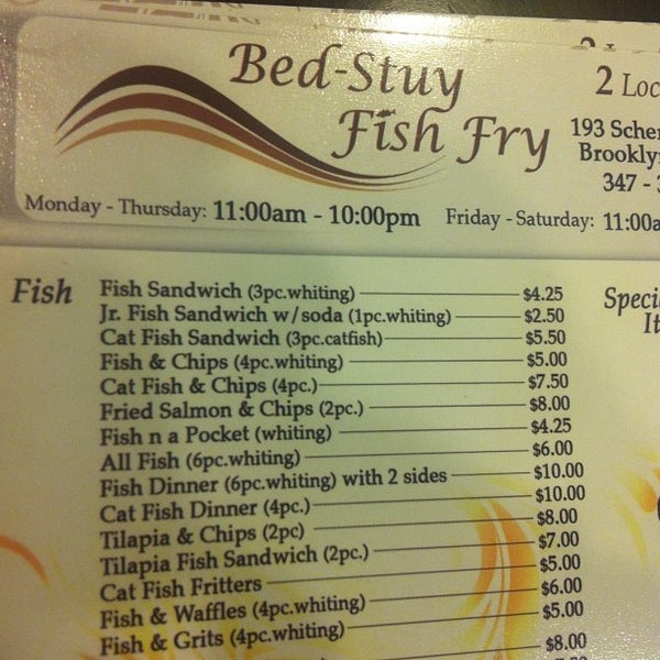 Photos at bed stuy fish fry southern soul food for Bed stuy fish fry menu
