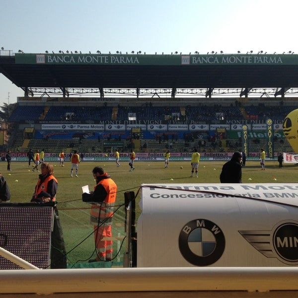 Photo taken at Stadio Ennio Tardini by Ludovica P. on 2/10/2013