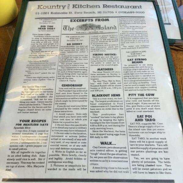Kountry Kitchen Ewa Beach Menu