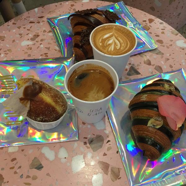 Chocolate bi color croissant, Pistachio rose bi color croissant and Golden boy donut.