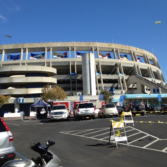 Photo taken at Qualcomm Stadium by Huaxin D. on 10/15/2012