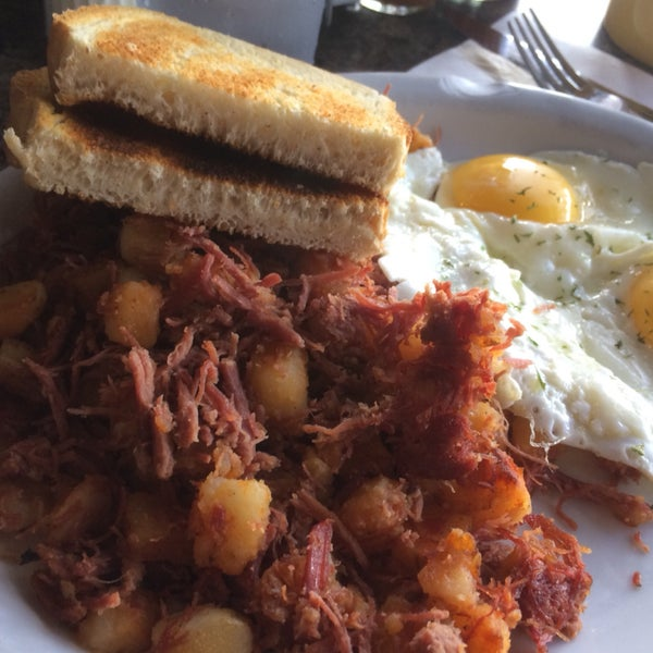 Corn beef hash is homemade and fantastic.