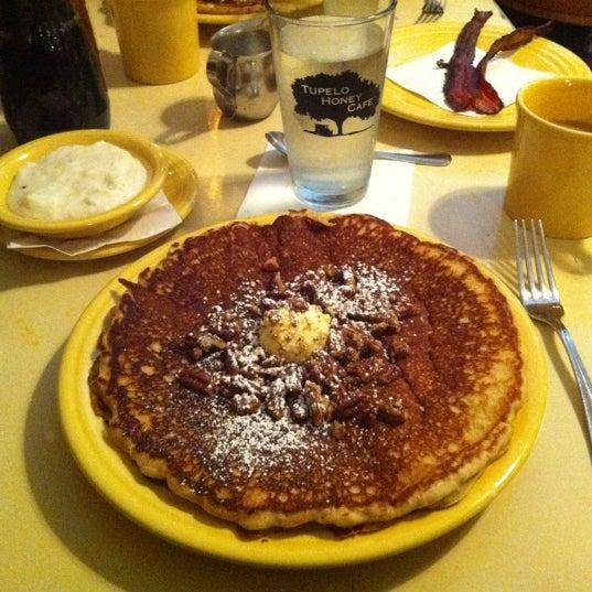 Sweet potato pancakes & goat cheese grits! Yum.