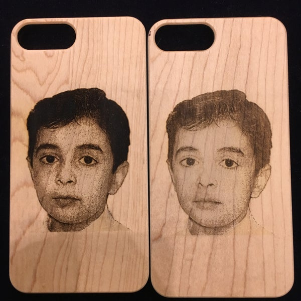 iPhone 7 Plus Maple Wood Case Picture Engraving. Single and Double times.