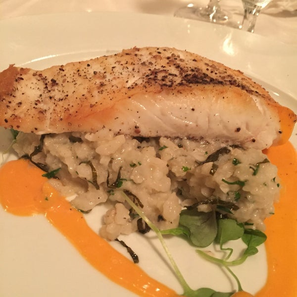 Halibut roasted on risotto with basil and lemon. Good function space and service