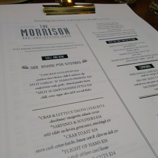 Photo taken at The Morrison Bar & Oyster Room by Benjamin G. on 12/3/2012