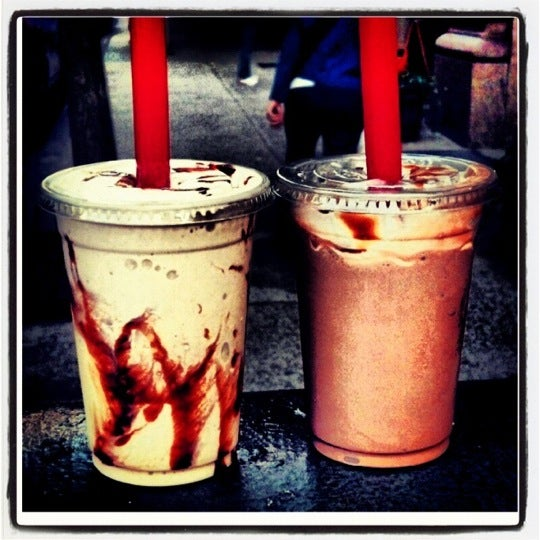 Choc malt & black and white shake to go.  Mmm