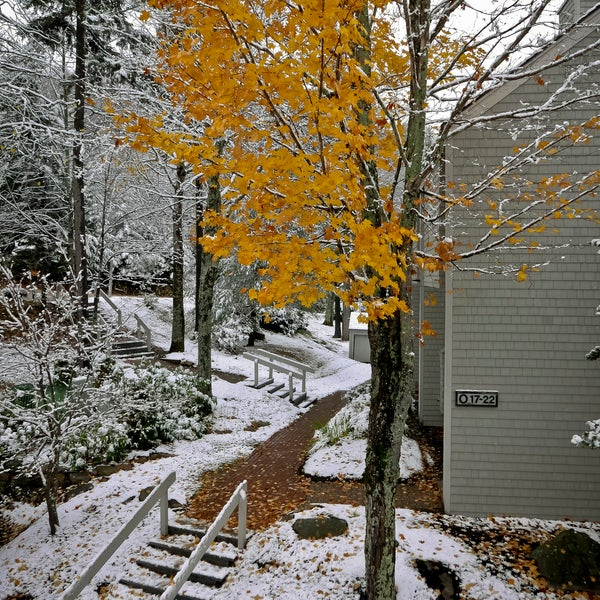 The slope-side condos provide nice accommodations in the skiing season.  This photograph is of the first snowfall taken on Sunday morning, October 23, 2016.