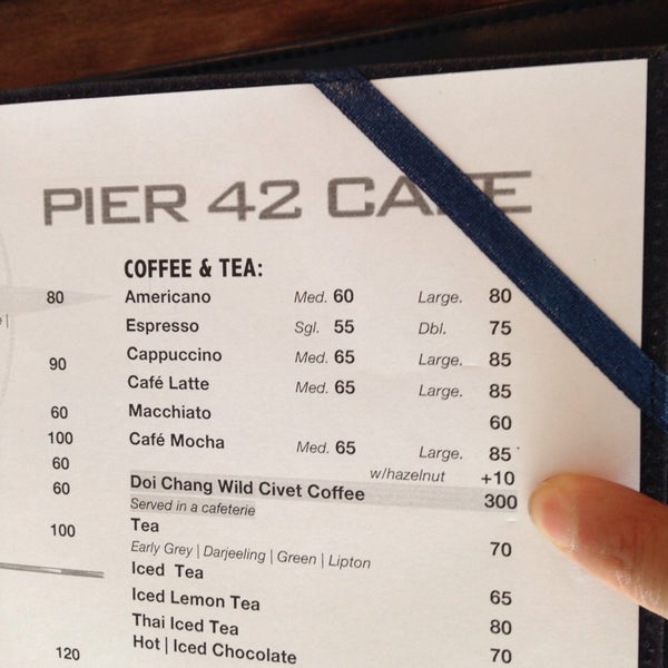 Wild civet coffee is $50 USD. It's 10 USD here at pier 42. You can buy a bag for $100 here if it's not sold out.