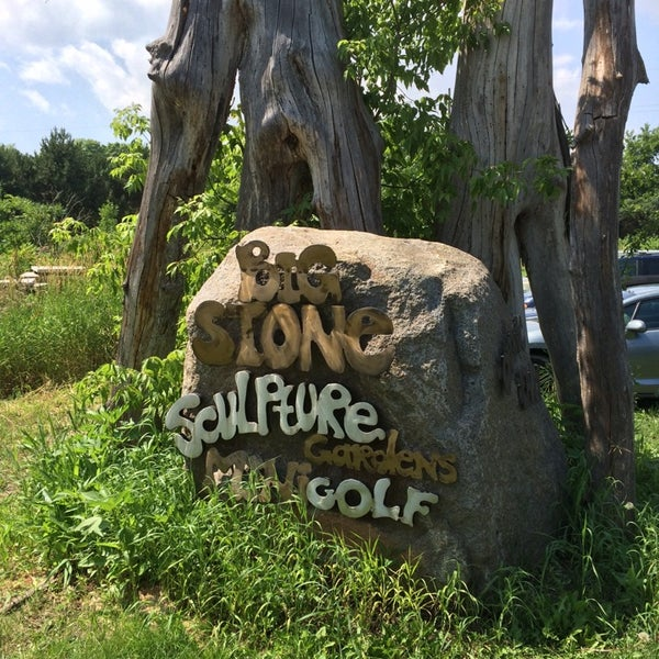 Challenging mini golf course with unique sculpture garden. Stop by the fire pit and roast marshmallows!