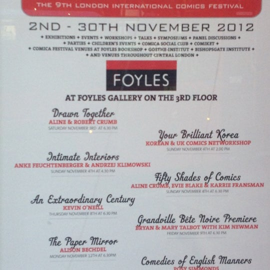 Photo taken at Foyles by Livvy A . on 11/11/2012