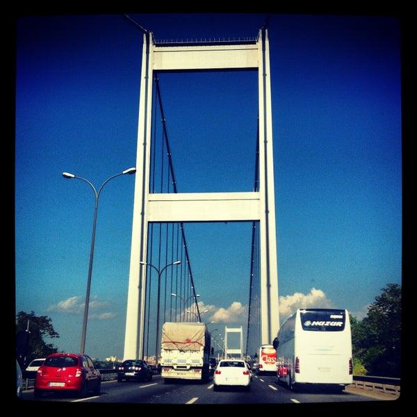 Photo taken at Fatih Sultan Mehmet Bridge by NİLÜFER on 5/15/2013