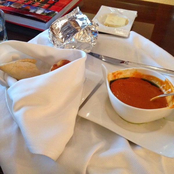 The bacon tomato and blue cheese soup is outstanding. Order it from room service.