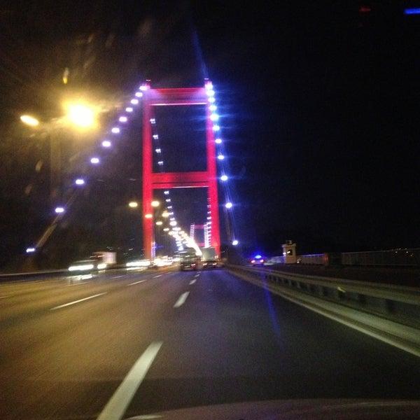 Photo taken at Fatih Sultan Mehmet Bridge by Tugce on 7/11/2013