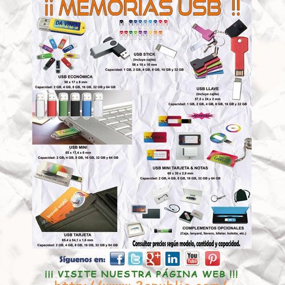 ¡ 2A - MEMORIAS USB !! El regalo perfecto ya sean para clientes o, para el uso diario de la propia empresa. Disponibles en todas las capacidades y en todos los formatos posibles.