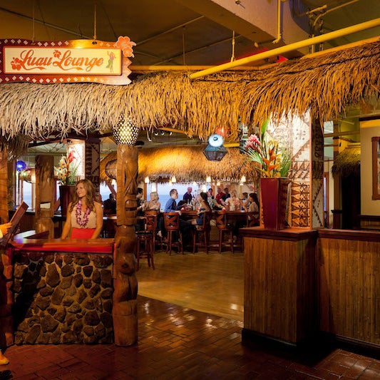 The next time you need a tropical getaway, just head across the Bay Bridge to this retro-oasis with wicker furniture, tiki statues, velvet Tahitian paintings,a thatched ceilingand so much bamboo.