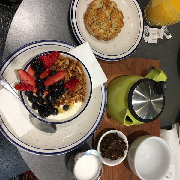 Biscuits and yogurt parfait. The granola is out of the world!