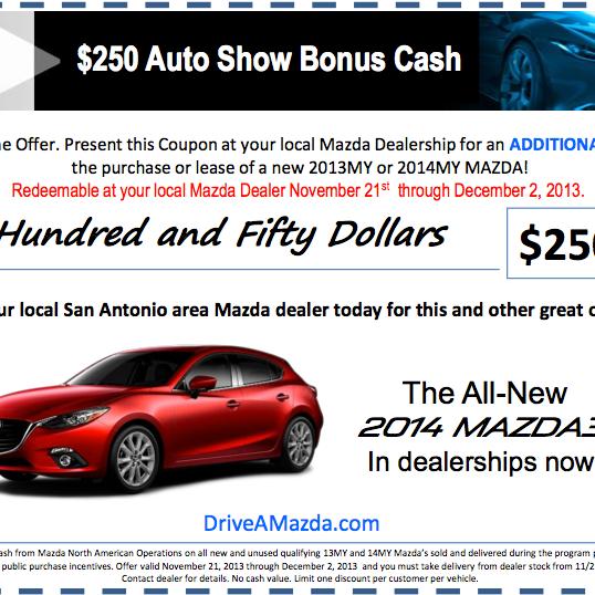 Take Advantage Of Our $250 BONUS CASH On Your 2013 Or 2014 Mazda Until  December 2nd