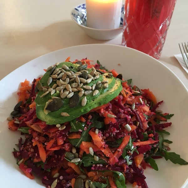 Quinoa salad so tasteful I even did not miss meat at all. Raspberry lemonade with thyme was perfect choice