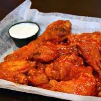 The spicy garlic wings are HOT!
