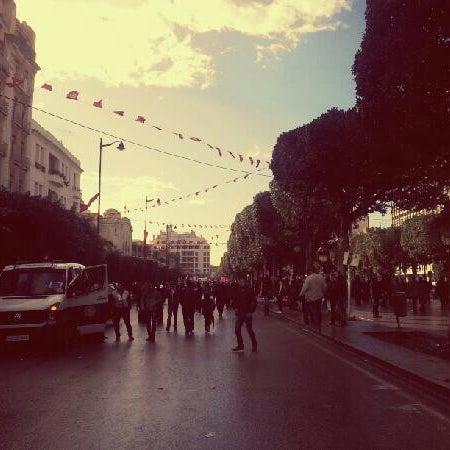 Photo taken at Avenue Habib Bourguiba by Amine B. on 2/9/2013
