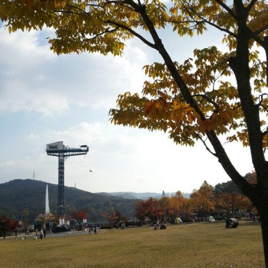 Photo taken at Yuldong Park by jasonk y. on 10/21/2012