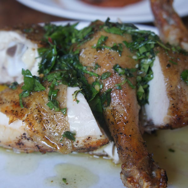 best roasted chicken I've ever had. perfectly spiced with herbs. juicy meat and crispy skin!