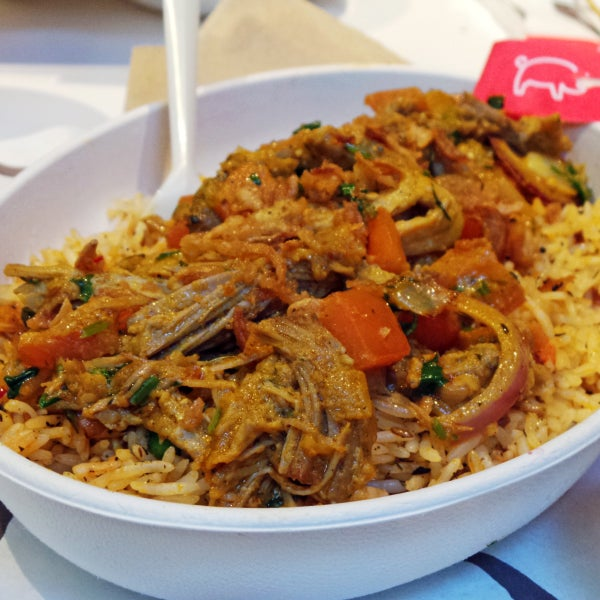 Fresh, flavorful, spicy, and filling Indian food served in a Chipotle-style construction line. Don't miss the Pulled Pork Vinadaloo Biryani. Read all about my visit on WinstonWanders below.