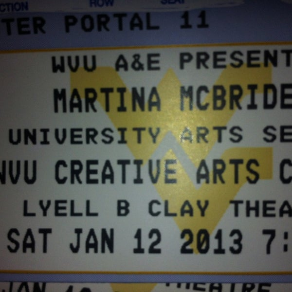 Photo taken at WVU Creative Arts Center by Kim G. on 1/12/2013