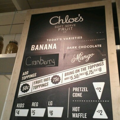Photo taken at Chloe's Soft Serve Fruit Co. by Giselle C. on 12/8/2012