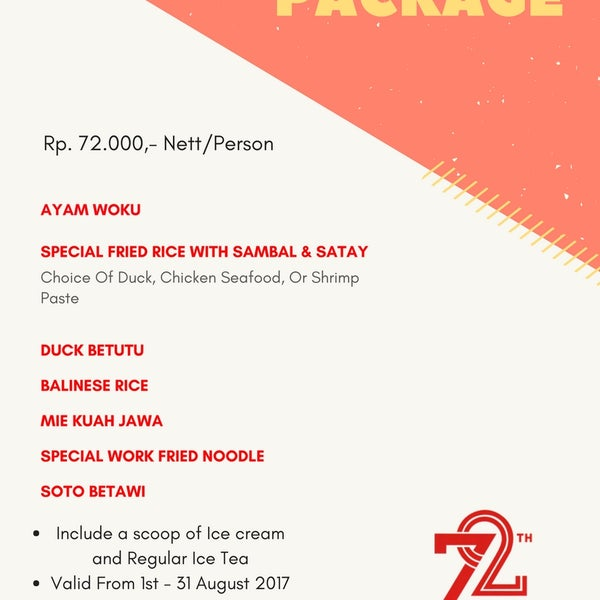 To celebrate the month of independenceWe have a special promo for this monthHere our list of Independence Package.Only IDR 72.000 Nett/Person