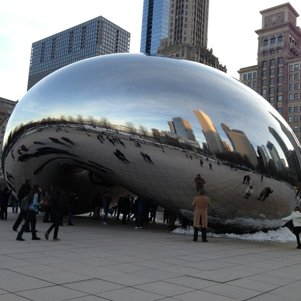 Photo taken at Cloud Gate by Anish Kapoor by Holly W. on 3/8/2013