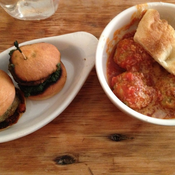 The veggie meatball sliders and chicken meatball bowl were ridiculous and filling!