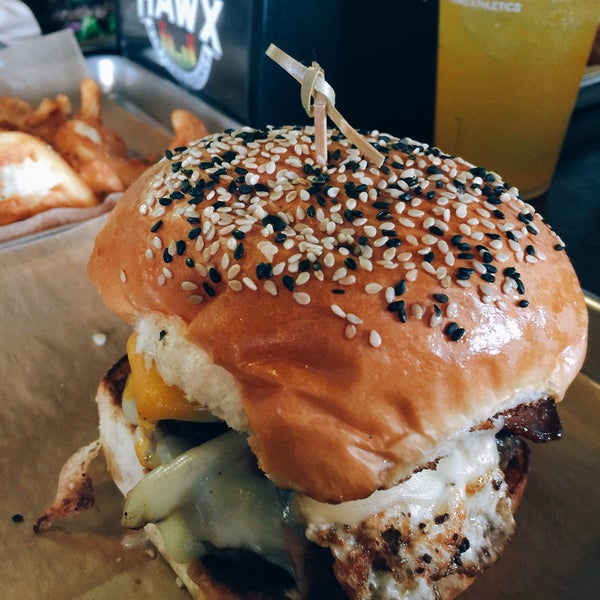 Photo taken at Hawx Burger Bar & Electro Lounge by Greg  B. on 6/12/2016
