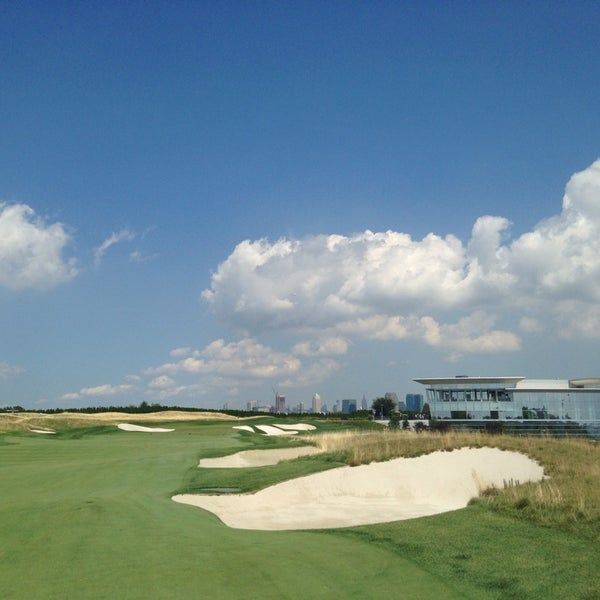Photo taken at Liberty National Golf Course by Courtney T. on 8/19/2014