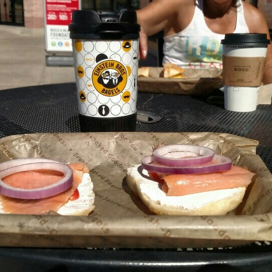 Photo taken at Einstein Bros Bagels by Garry E. on 10/12/2015