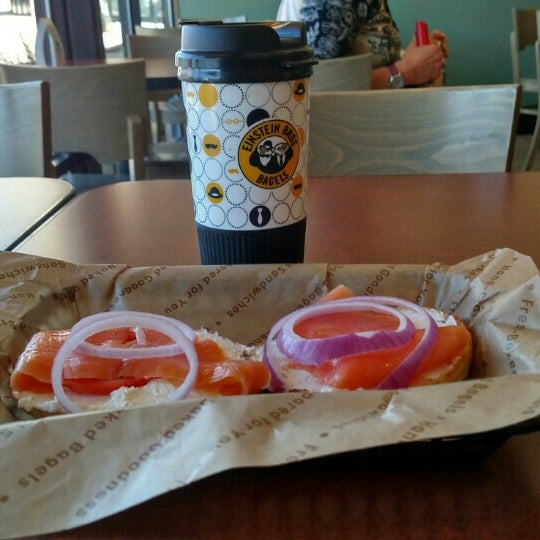 Photo taken at Einstein Bros Bagels by Garry E. on 10/14/2015