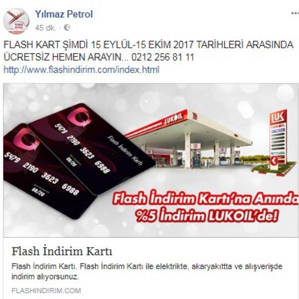 Flash Kart Yılmaz Petrol İstasyonmuzda Geçerlidir, Ücretsiz Alarak Kullanabilirsiniz.