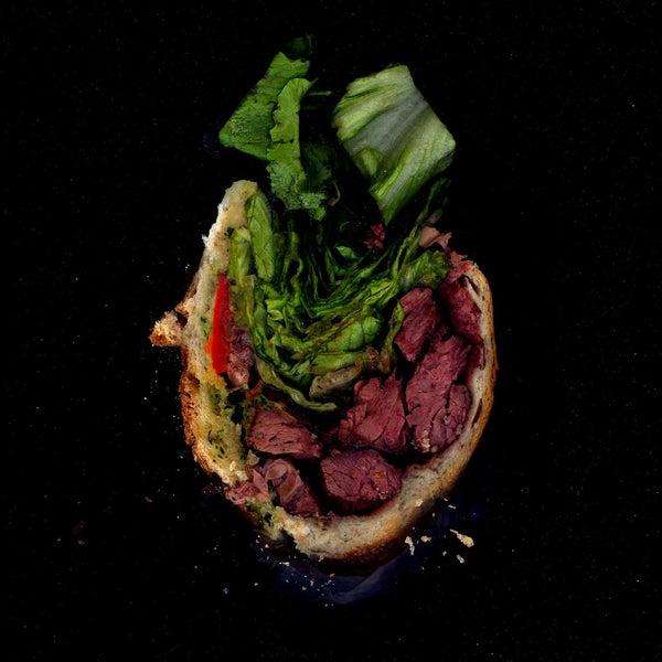 Steak, Peppers, Lettuce, Herbal Mayo on a Baguette