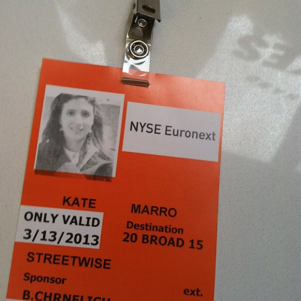 Photo taken at NYSE Euronext by Kate M. on 3/13/2013