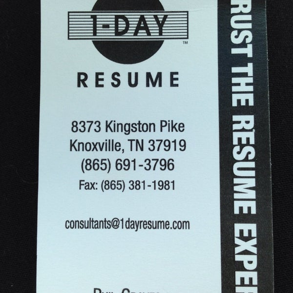 Statement 1 Day Resume Knoxville Tn the