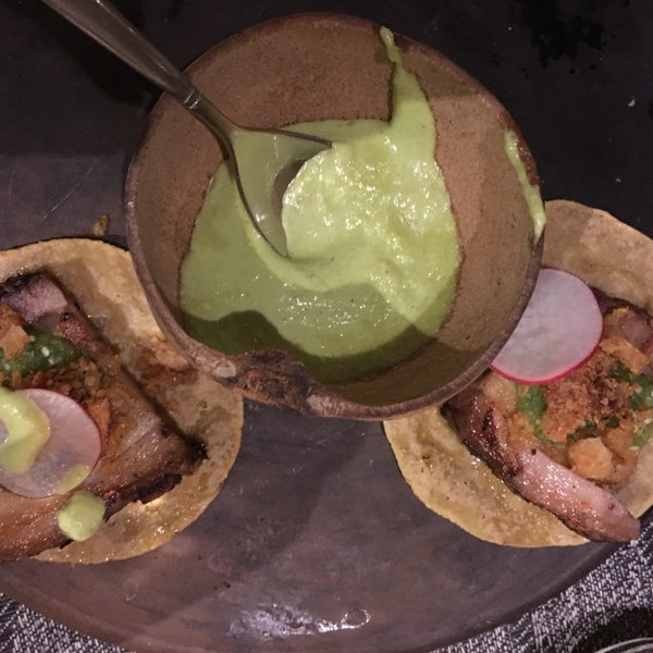 Pork belly tacos. Good mescal and gasolina cocktails. Didn't love the goat. Fresh spicy salsa. Good ceviche.