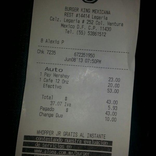 Photo taken at Burger King by Cesar V. on 6/9/2013