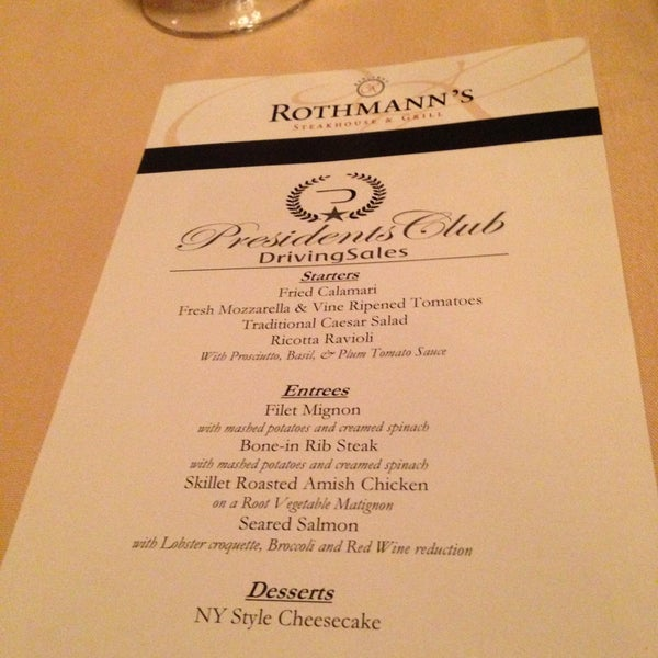 Photo taken at Rothmann's Steakhouse by Bill S. on 4/21/2013