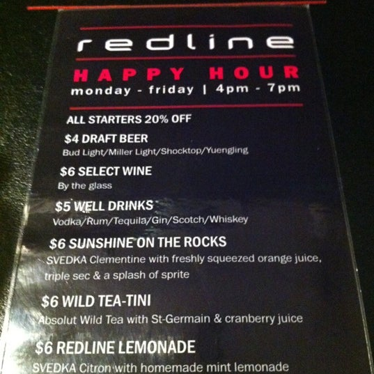 Happy Hour Monday - Friday 4 - 7 PM