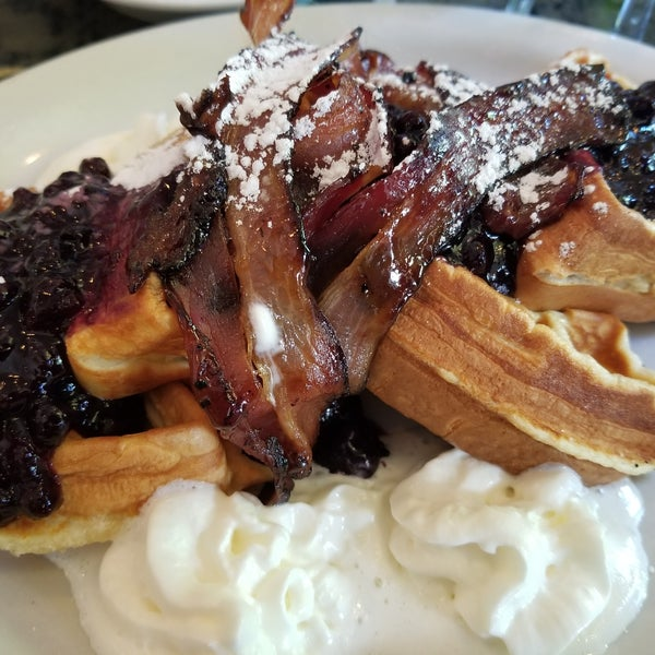 This waffle has bacon INSIDE IT. AND ON TOP. Bacon. Blueberry jam. Waffles. Do it.