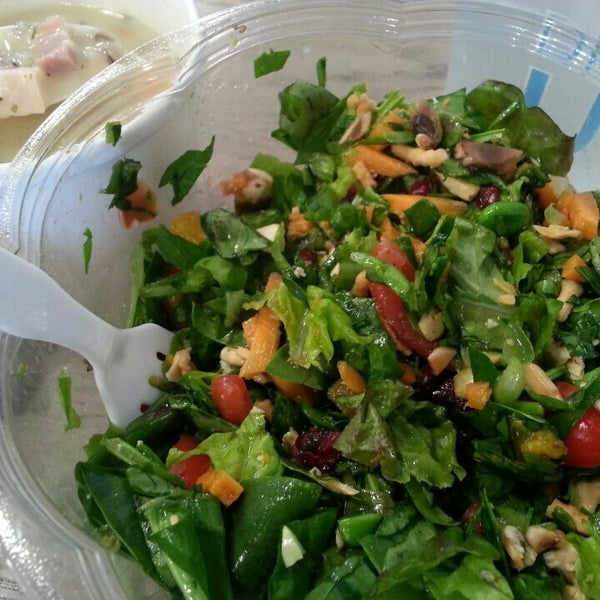 Salad was awesome! Spinach, kale, carrots, edamame, mushrooms, mandarin oranges, cranberries, almonds and chicken topped with Carrot Ginger Lime dressing... nom nom nom