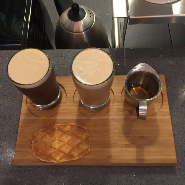 """different """"projects"""" that offer a unique coffee experience: this is the nitro cold brew, and the original """"project #1"""" is the deconstructed latte. it's cool!"""