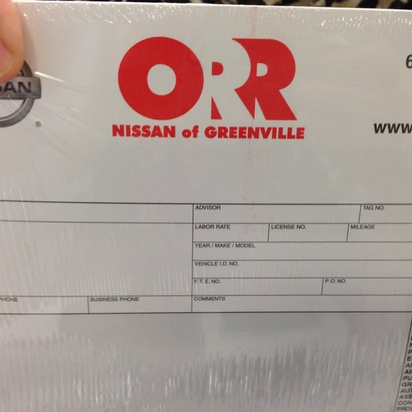 Photo Taken At Orr Greenville Nissan By Brandi M. On 9/4/2013